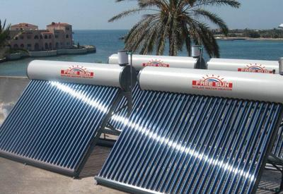 Solar hot water system for a resort